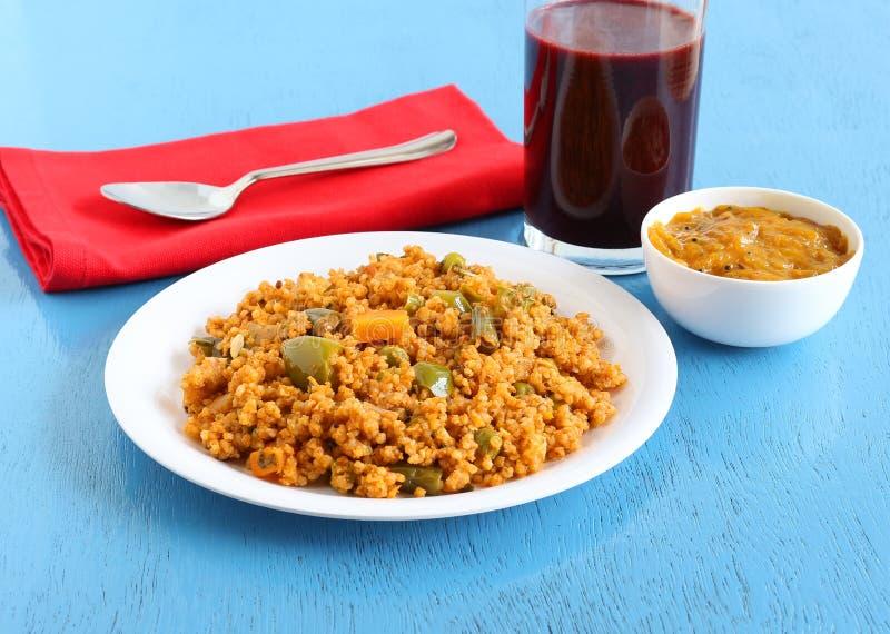 Mat för pilaff för Kodo hirstomat sund indisk vegetarisk arkivbilder