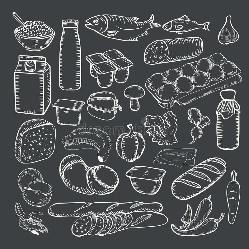 Mat klottrar vit krita för samlingen på en svart tavla stock illustrationer
