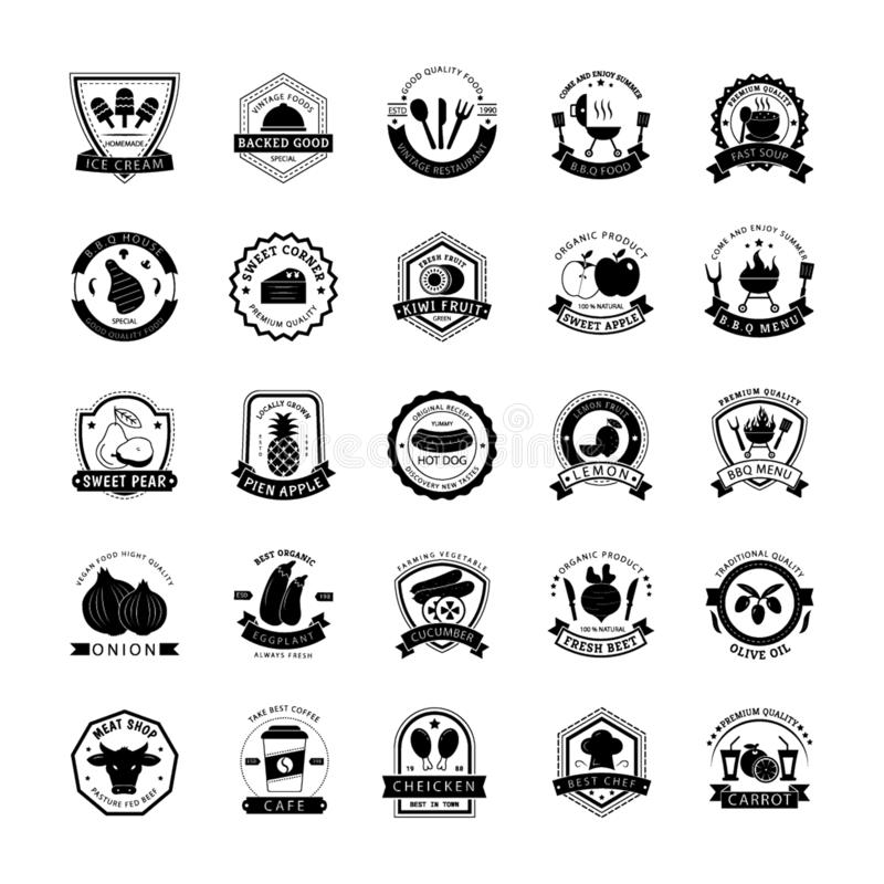 Mat Logo Icons Collection vektor illustrationer