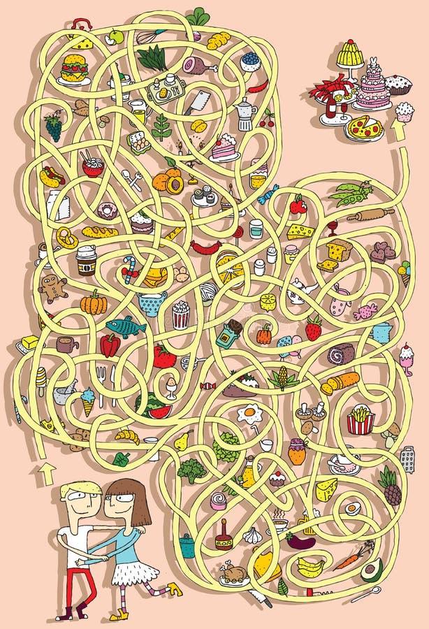 Mat Maze Game. Lösning i gömt lager! royaltyfri illustrationer