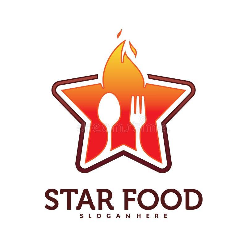Mat med stjärnan Logo Vector royaltyfri illustrationer