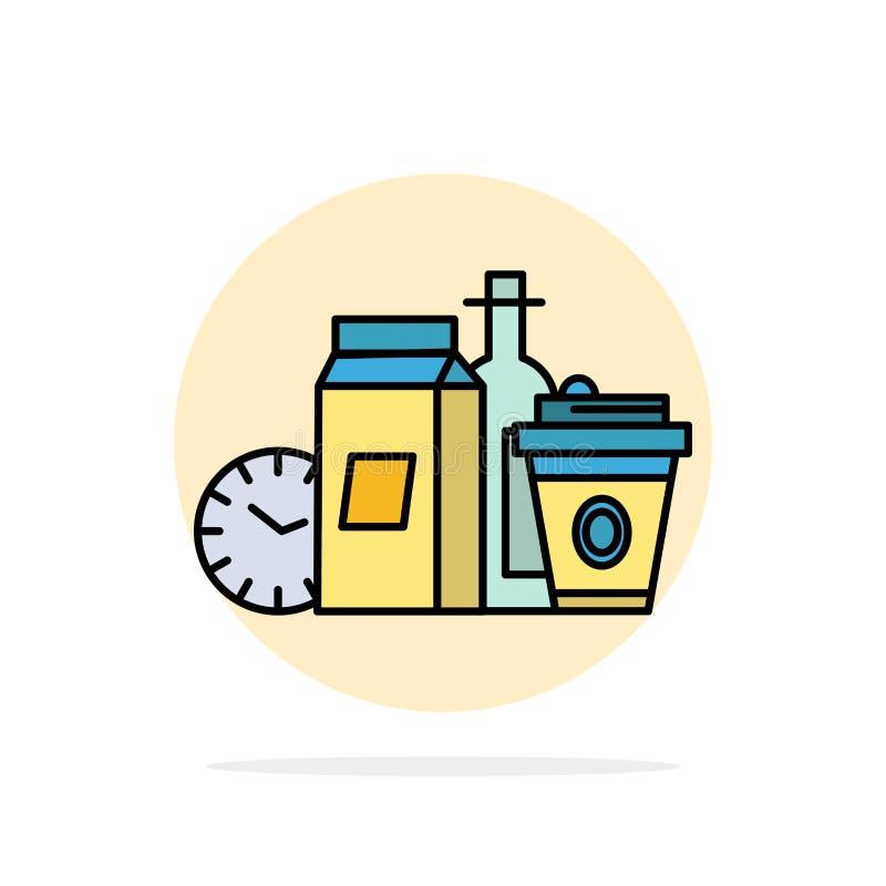 Mat objekt, mjölkar, objekt, för abstrakt symbol för färg cirkelbakgrund för kaffe plan vektor illustrationer