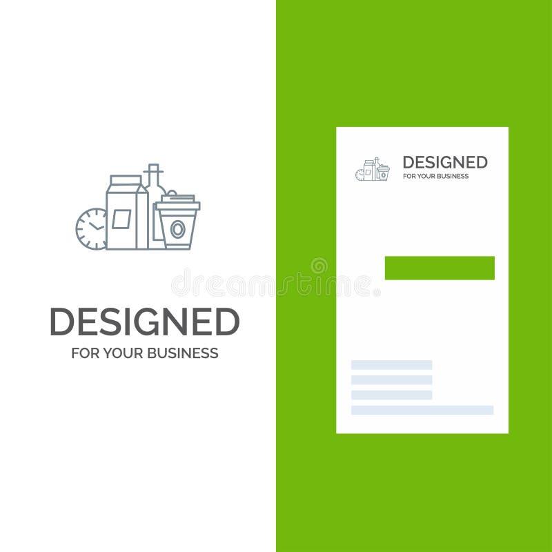 Mat objekt, mjölkar, objekt, kaffe Grey Logo Design och mallen för affärskort vektor illustrationer