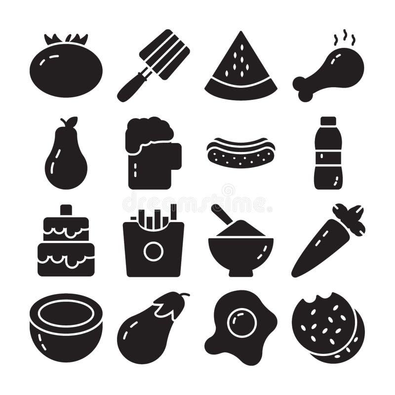 Mat och att banta vektorpacken stock illustrationer