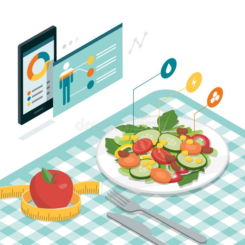 Mat och bantar app royaltyfri illustrationer