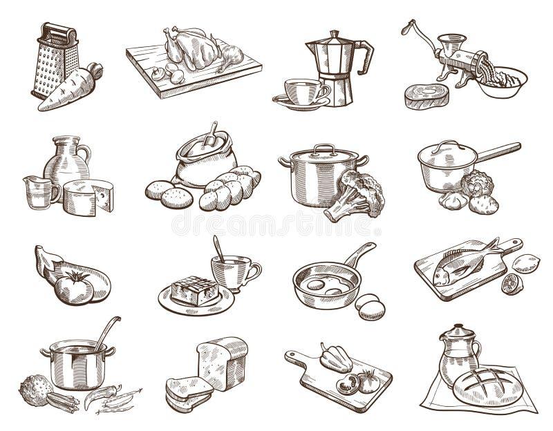 Mat och cookware stock illustrationer