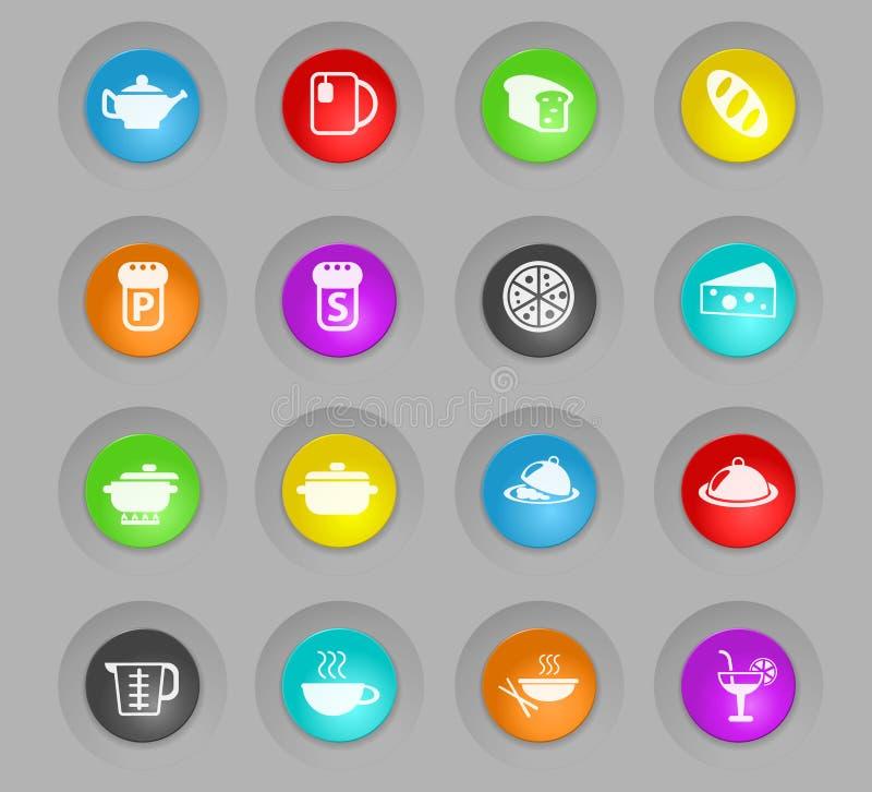 Mat och den kök färgade plast-rundan knäppas symbolsuppsättningen stock illustrationer