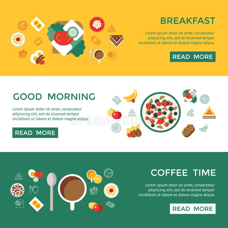 Mat och drink för Digital frukostmål ny vektor illustrationer