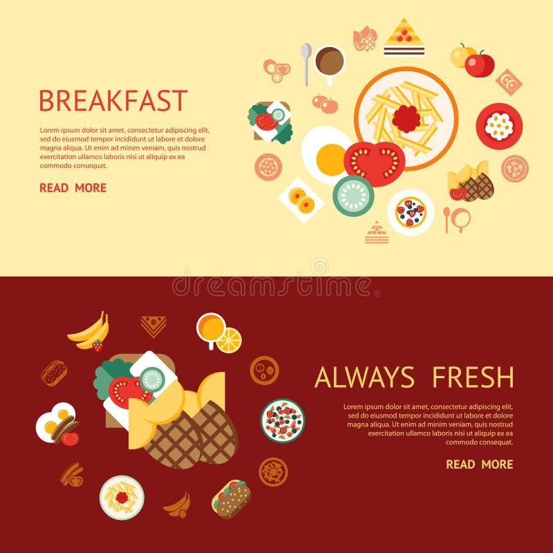 Mat och drink för Digital frukostmål ny stock illustrationer