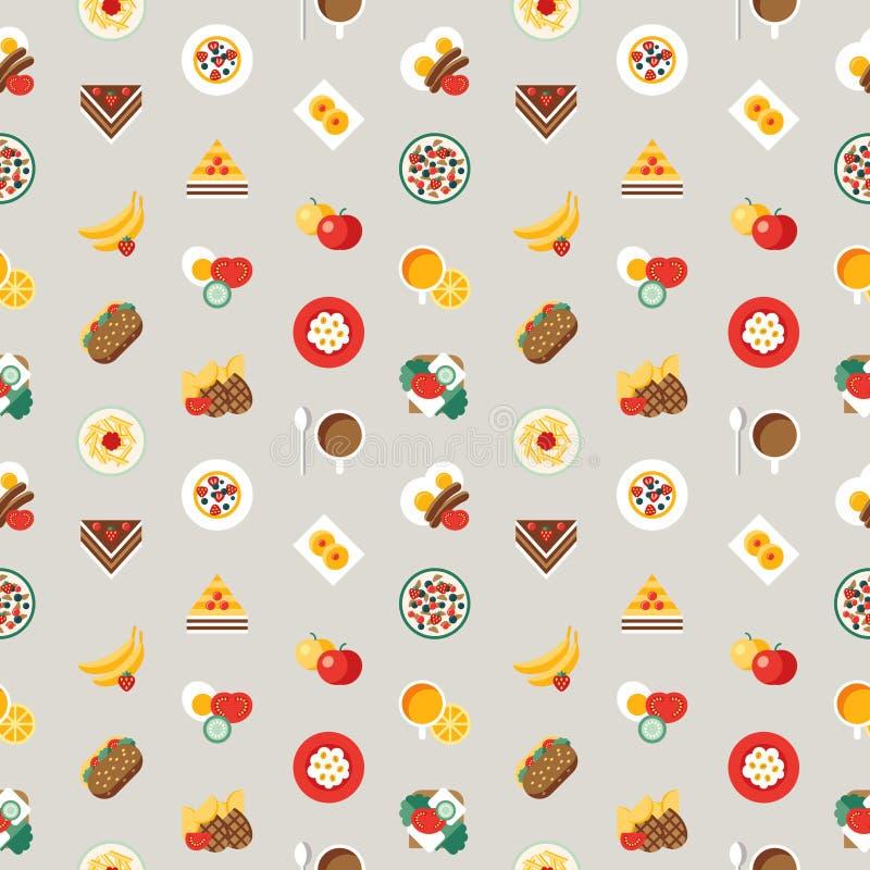 Mat och drink för Digital frukostmål ny royaltyfri illustrationer