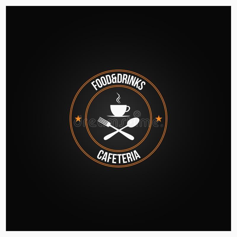 Mat- och drinklogo kaffekopp med gaffeln och sked på svart bakgrund royaltyfri illustrationer