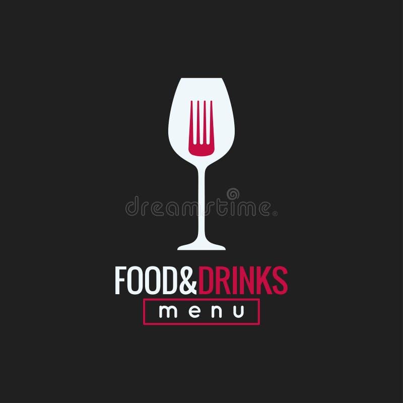 Mat- och drinklogodesign Bakgrund för vinexponeringsglas och gaffelbegrepps stock illustrationer
