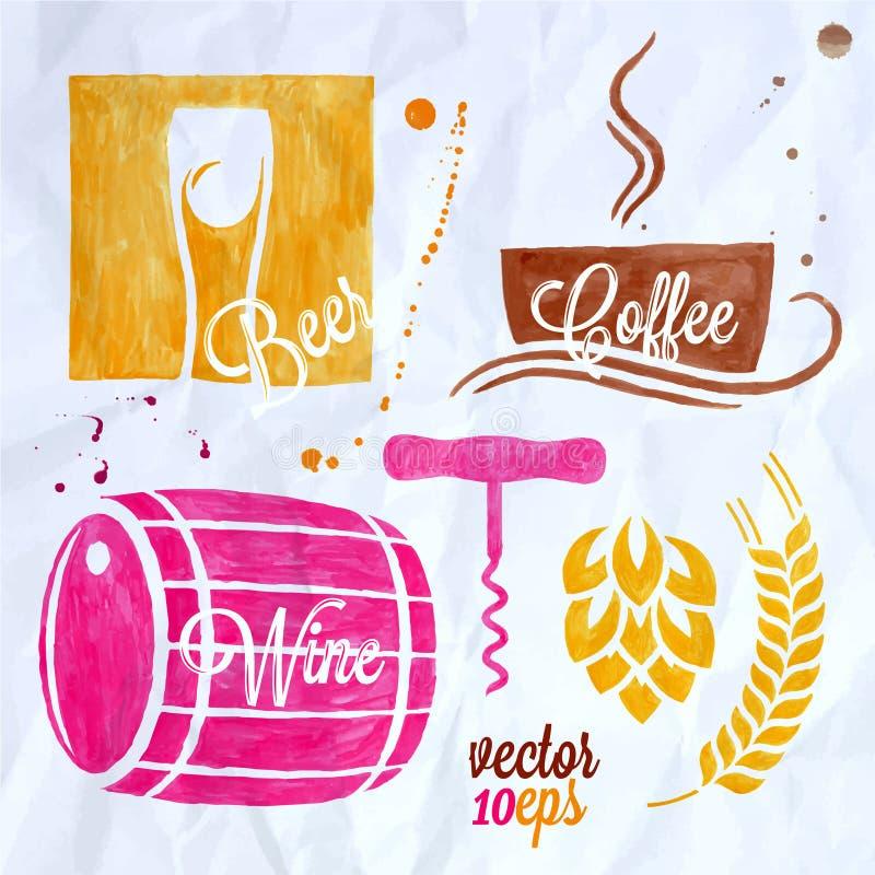 Mat- och drinkvattenfärgen ställde in ölvinkaffe royaltyfri illustrationer