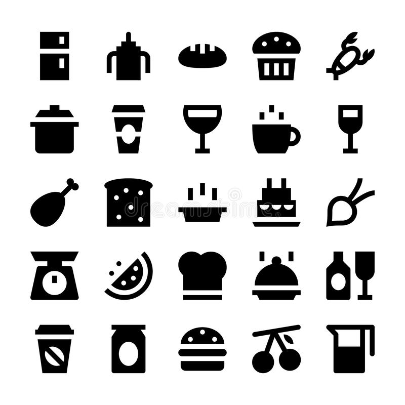 Mat- och drinkvektorsymboler 1 royaltyfri illustrationer