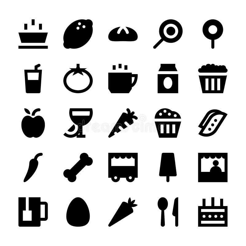 Mat- och drinkvektorsymboler 3 stock illustrationer