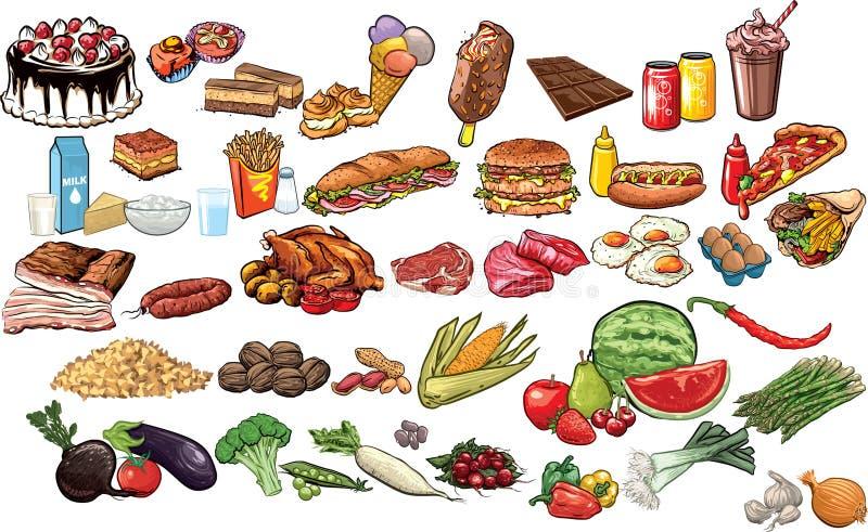 Mat och drycker stock illustrationer