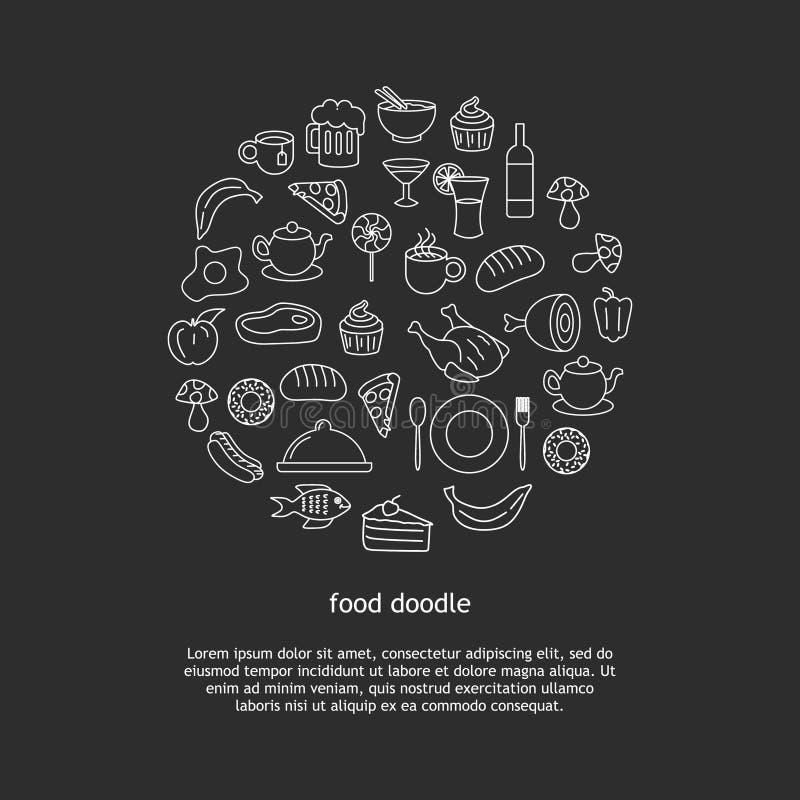 Mat- och dryckklotter som drar objekt för beståndsdel för cirkel för bakgrundsvektorillustration vektor illustrationer