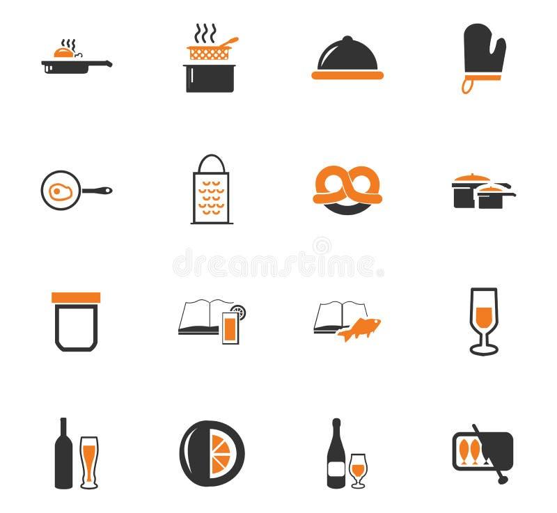 Mat och köksymbolsuppsättning vektor illustrationer