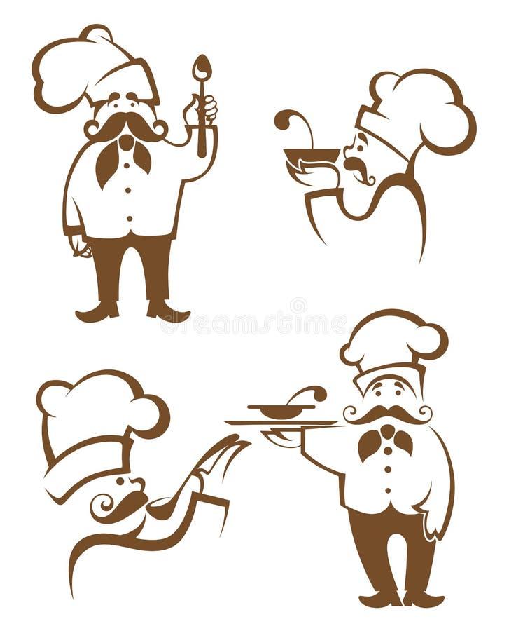Mat- och kockkonturer stock illustrationer
