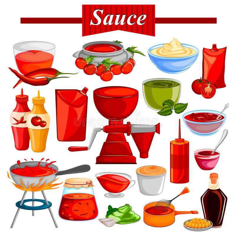 Mat- och kryddaingrediens för chili och tomatketchup eller sås vektor illustrationer