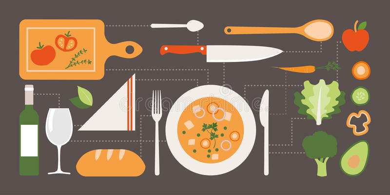 Mat och matlagning stock illustrationer