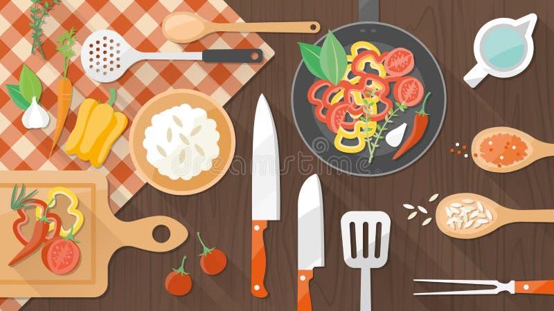 Mat- och matlagningbaner stock illustrationer
