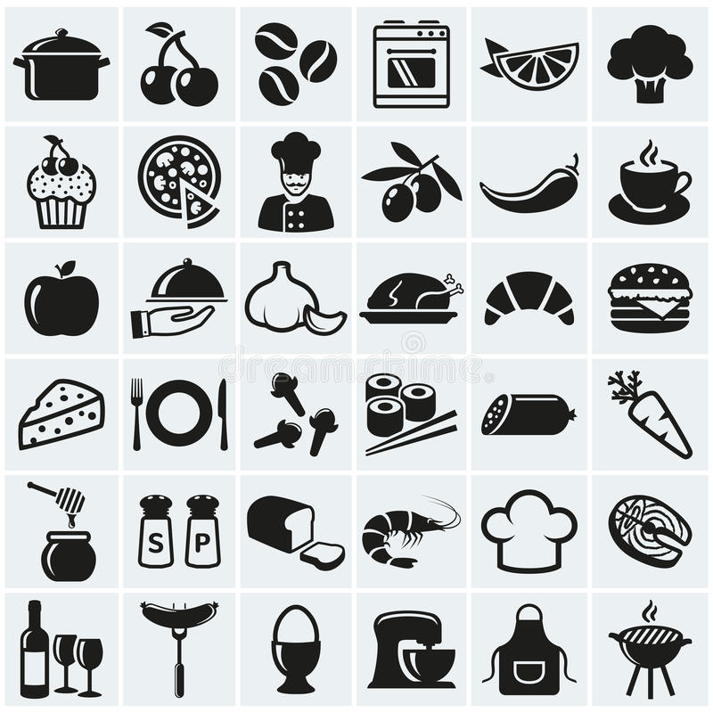 Mat- och matlagningsymboler vektor för set för tecknad filmhjärtor polar stock illustrationer