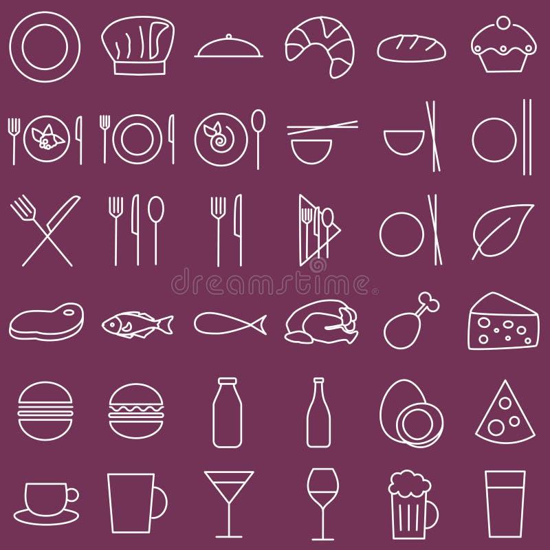 Mat- och menysymboler, skisserad stil arkivbild