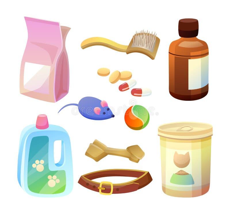 Mat och produkter för sakkunnig torr för uppsättning för husdjuromsorg vektor illustrationer