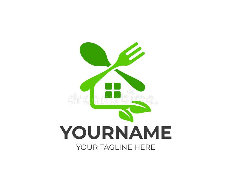 Mat och restaurang, gaffel och sked, hus med sidor, logodesign Sunt och organiskt mål, vektordesign royaltyfri illustrationer