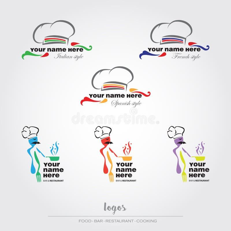 Mat- och restauranglogoer royaltyfri illustrationer