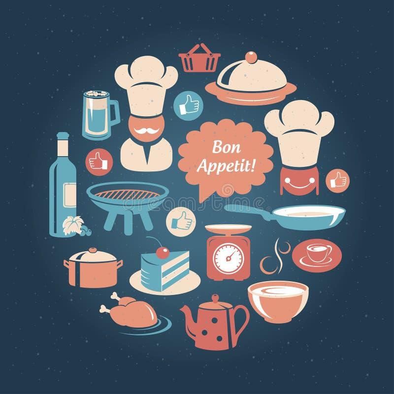 Mat och uppsättning för matlagningsymbolsrunda stock illustrationer