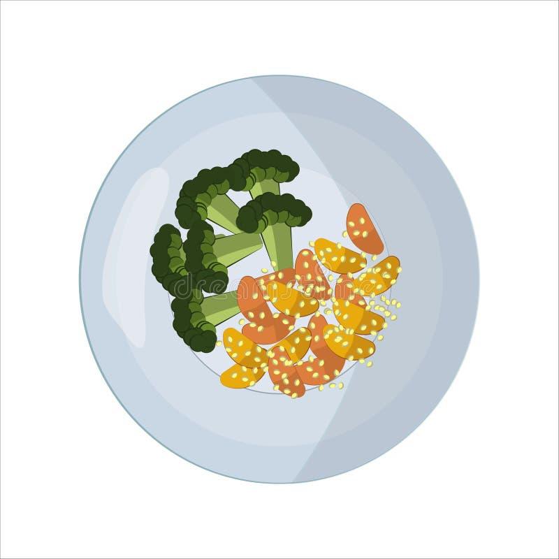Mat p? plattan Broccoli och potatisar med sesam lunch eller matst?lle Symbol för applikation, websitedesign eller meny royaltyfri illustrationer