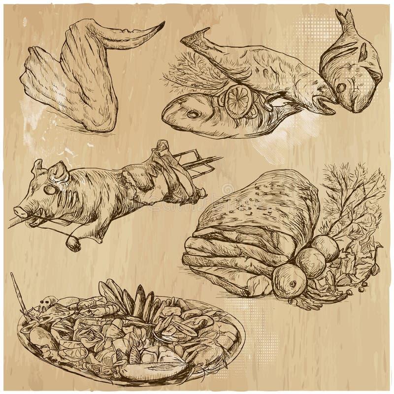 Mat runt om världen, hand dragen vektoruppsättning royaltyfri illustrationer