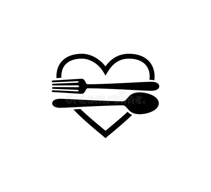 mat som är kulinarisk med design för logo för symbol för sked- och gaffelrestaurangvektor stock illustrationer