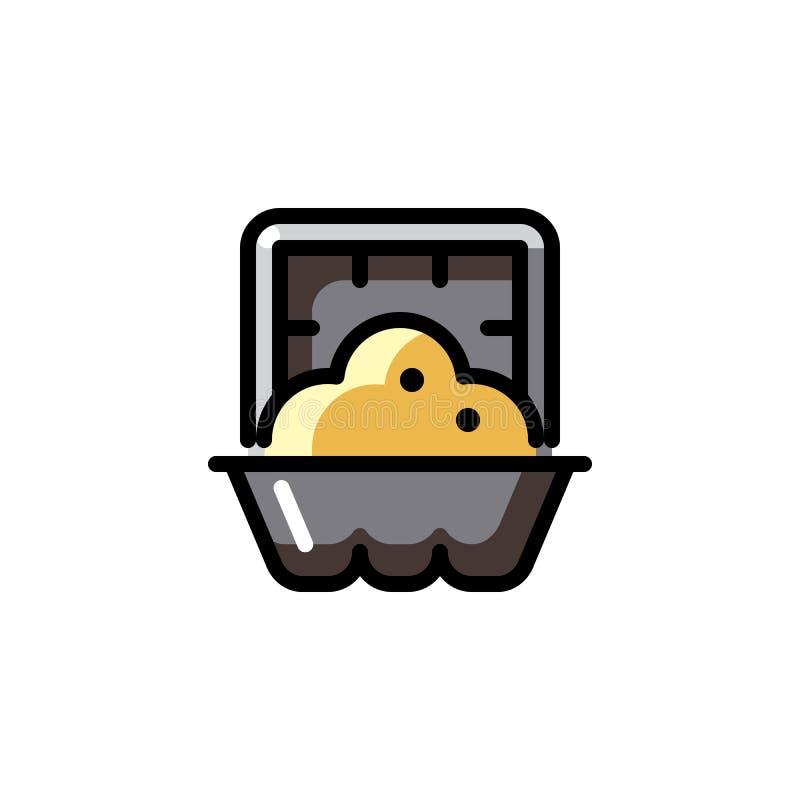 Mat som lagas mat i ugnsbegreppssymbol Färdig- diskfärgetikett Mikrovågmåluppvärmning Isolerad vektor royaltyfri illustrationer