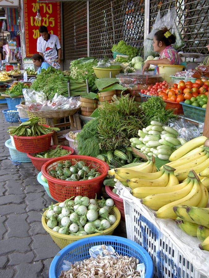 mat som säljer den thai thailand kvinnan royaltyfri bild