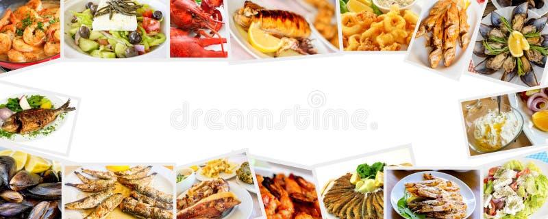 Mat ställde in av olik skaldjurcollage matbegreppsfoto arkivfoton
