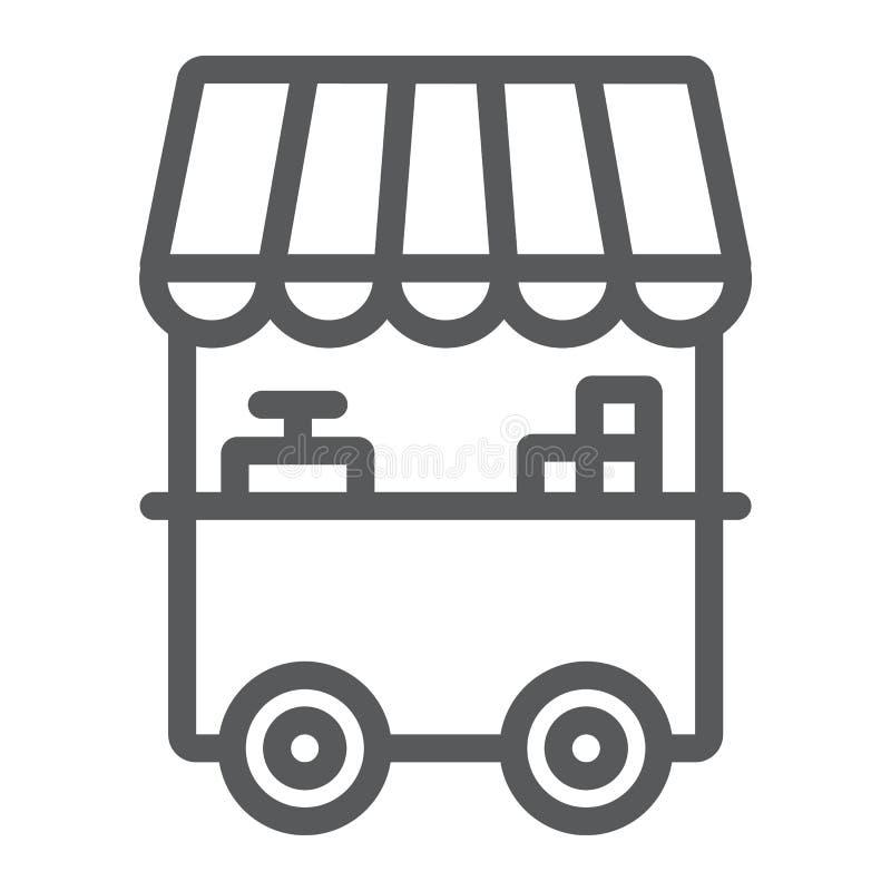 Mat stannar linjen symbol, kiosket och ställningen, gatamattecknet, vektordiagram, en linjär modell på en vit bakgrund stock illustrationer