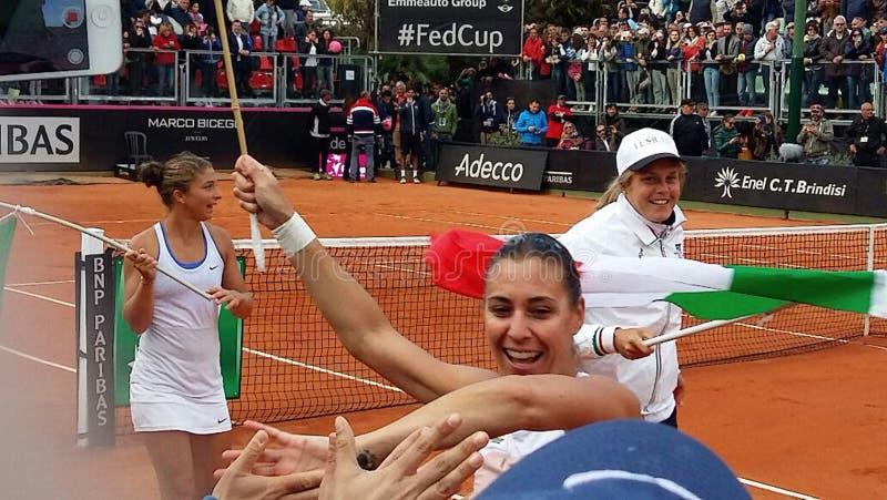 Matad kopp för Flavia Pennetta vinnaresara errani brindisi royaltyfri foto