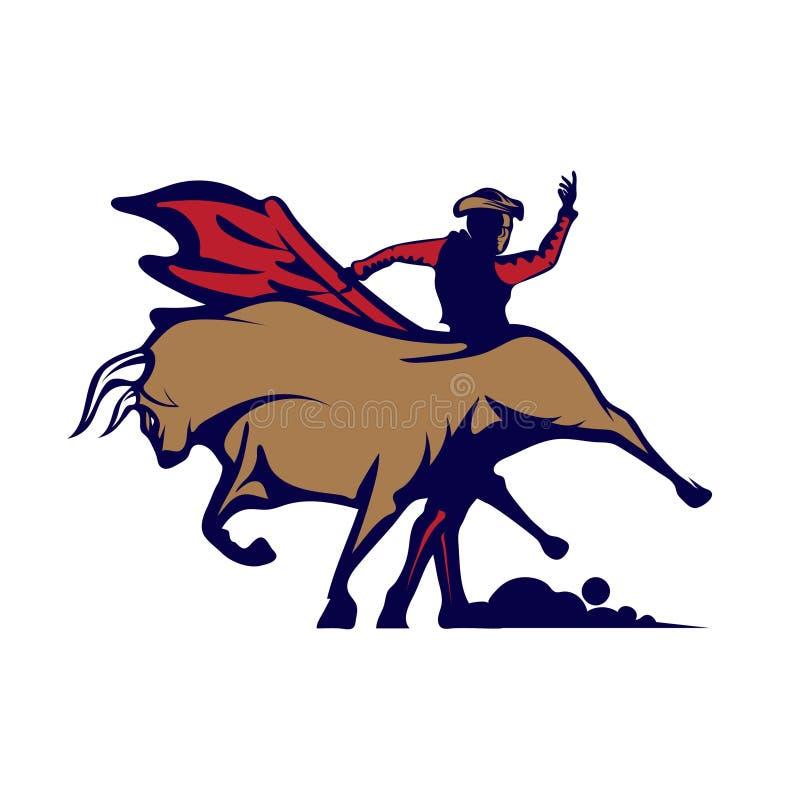 Matador contra Bull Ilustra??o do logotipo do vetor ilustração royalty free
