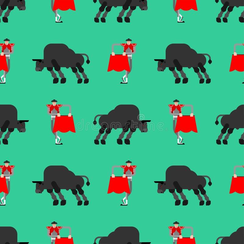 Matador et modèle de taureau sans couture Fond de corrida Toréador et boeuf Ornement de vecteur illustration libre de droits