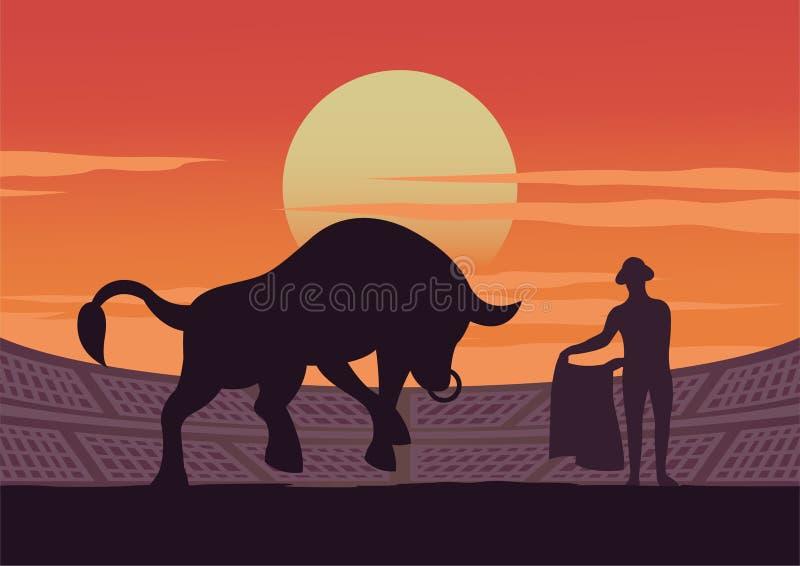 Matador und Stier werden im Stadion, in der Kultur und in der Tradition von Spanien, Sonnenuntergangzeit gezeigt stock abbildung
