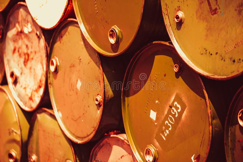 Matal rust steel barrels toxic waste transportat pollution chemical acid. Environmental destruction concept stock photography