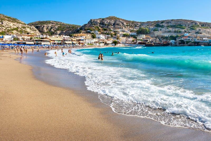Matala海滩 克利特希腊 图库摄影