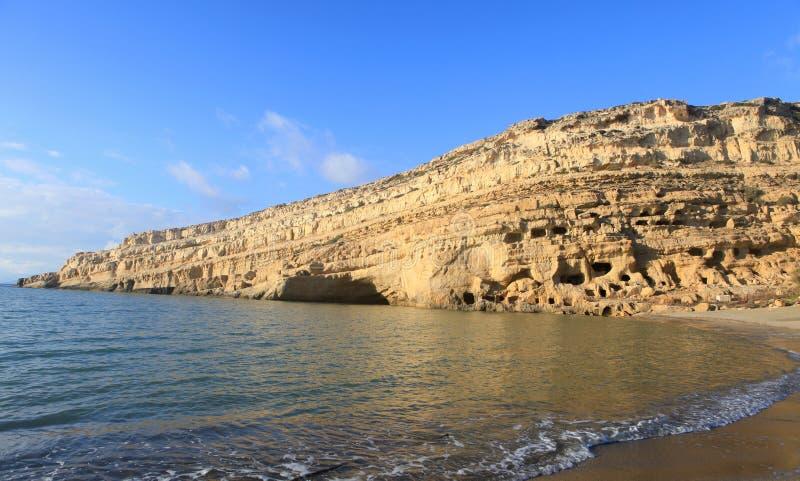 matala пляжа после полудня стоковые изображения