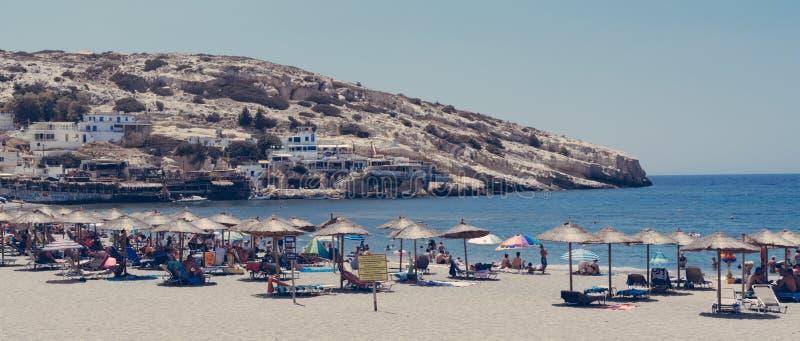 Matala strand, Kreta Grekland royaltyfri fotografi