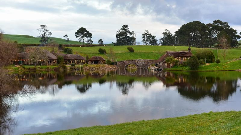 Lake in Hobbiton movie set featured in Lord of the Rings and Hobbit movies stock images
