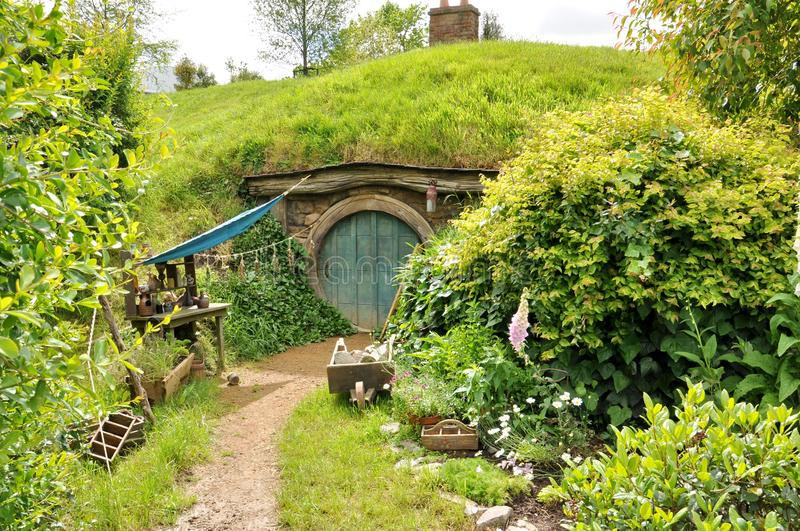 The rebuilt set and cottage for The Hobbit and The Lord of the Rings. Matamata, New Zealand - November 12, 2016: The completely rebuilt set and cottage for The royalty free stock photos