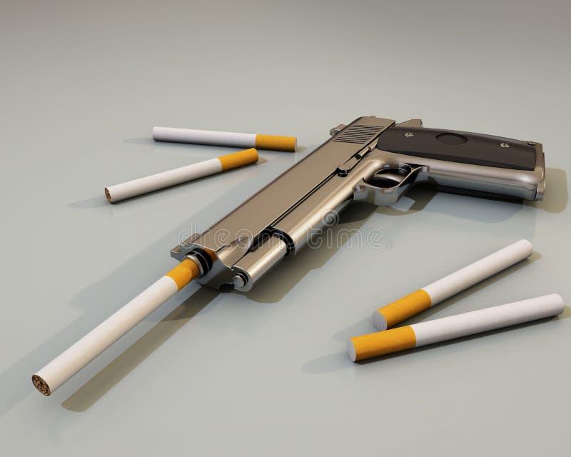 Matanças de fumo, arma e cigarro ilustração royalty free